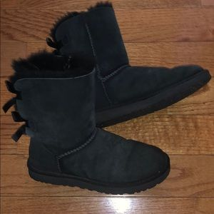 UGG Shoes - Black bailey bow uggs!